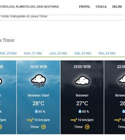 Siang Hingga Malam Surabaya akan Mendung dan Hujan